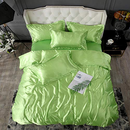 geek cook Bedding 4 Piece,2020 New 100% pure satin silk solid color bedding set Home Textile King size bed set duvet cover flat sheet pillowcases-guo lv_Twin size 4pcs