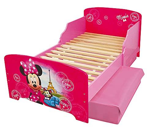 Fun House Disney Minnie Paris - Cama de 140 x 70 cm con láminas y 2 cajones de Almacenamiento para niños, MDF, Color Rosa