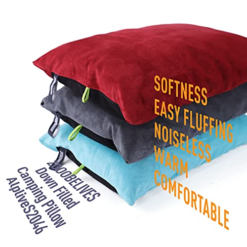 ZOOOBELIVES Down Filled Pillows for Camping/Travel, Washable Soft Cover, Camp Pillow for Neck & Lumbar Support On-The-Go, Ultralight & Compressible for Hiking Backpacking - AlpliveS2046