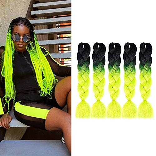 MYCHANSON Synthetic Jumbo Braiding Hair Three Colors 100% Kanekalon 24inch Crochet ombre Braids Hair Extensions 5pcs(Black-Yellow-Green)