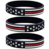 Sainstone Thin Red Line American Flag Bracelets - Power of Faith Silicone Rubber Wristband Band Set for Americanism, Patriotic, Holiday, Fundraisers, Awareness, Gifts for Teens Men Women (3 pack)