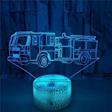 FREEZG 3D lámpara de ilusión LED Camión de bomberos juguete niños LED Óptico Holograma Luz de noche 7 colores cambian con control remoto decoración de la habitación de los niños Regalos creativos par