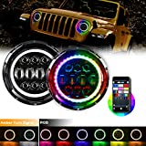 EBESTauto Compatible for 2PCS 7'' Inch Jeep Wrangler Halo Headlights RGB with DRL Turn Signal Bluetooth Control Multi-color Hi/Low Beam 1997-2017 Wrangler JK LJ CJ Hummer with Instructions Video