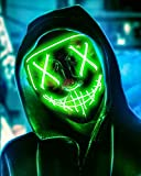 Scary Halloween Mask, LED Light up Mask Cosplay, Glowing in The Dark Mask Costume 3 Lighting Modes, Halloween Face Masks for Men Women Kids - Green