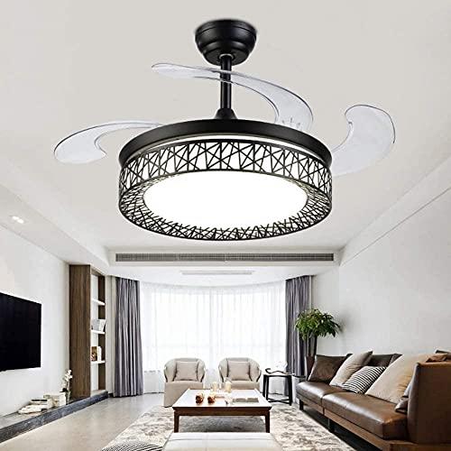 Ventilatore da soffitto purificatore d'aria con lampadario di lusso per ventilatore da soffitto per interni, lampade a sospensione in cristallo Illuminazione lampada a sospensione a LED dimmerabile co