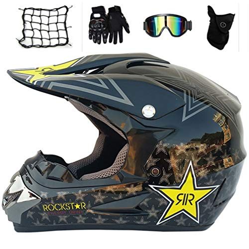 MRDEAR Casco Motocross Set (5 PCS), Nero/Rockstar, Casco MTB Integrale Bambino con Paraorecchie Amovibili, Casco Moto Cross per Enduro BMX off Road Downhill ATV,M