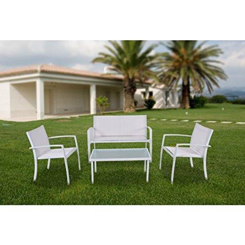 Salotto da giardino con tavolo con top in cristallo divano e sedie in alluminio - Mod. Sunset Bianco