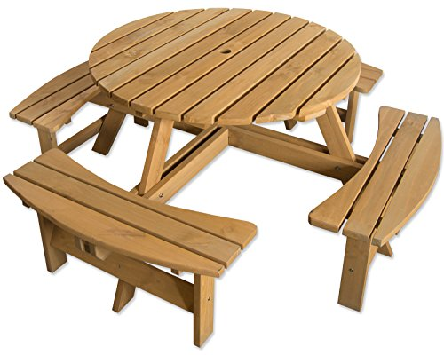 Maribelle 8 Seater Stained Pine Round Wooden Bench/Picnic Table - for Garden, Pub, Patio