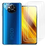 [5-Pack] Protector de Pantalla(3) + Cámara Protector(2) para Xiaomi Poco X3 NFC, Duro Transparente [9H Dureza] [Alta Definicion] Cristal Templado Película Cámara Protector para Xiaomi Poco X3 NFC