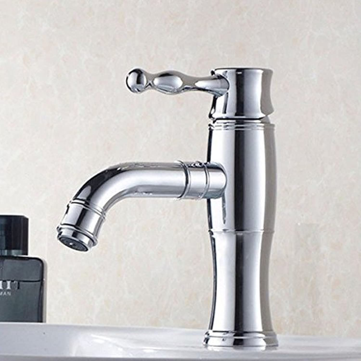 ETERNAL QUALITY Bathroom Sink Basin Tap Brass Mixer Tap Washroom Mixer Faucet The modern all-copper bathroom single handle single hole to redate the basin mixer silver Ki