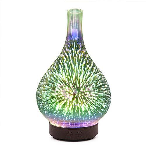 Lámpara de mesa de vidrio 3D, aromaterapia, lámpara colorida, florero, humidificador, creativo, hogar, aceite esencial, esparcidor, fuegos artificiales, luz