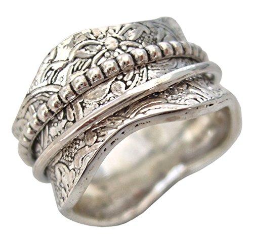 Energy Stone Arte artigiana - Anello girevole di meditazione in argento sterling - incisioni floreali (modello UK17)