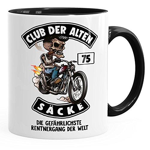 MoonWorks Kaffee-Tasse Club der Alten Säcke Geschenk-Tüte Club der Alten Säcke für Ältere Geburtstag Männer 75 schwarz Unisize