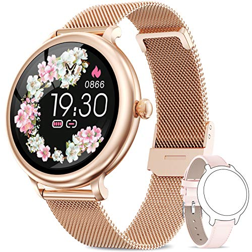 NAIXUES Smartwatch Donna IP68, Orologio Fitness Impermeabile Cardiofrequenzimetro da Polso, Smart Watch Bluetooth Contapassi Calorie Sonno Notifiche Messaggi Activity Tracker per Android iOS Oro