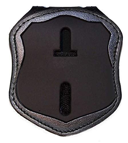 Perfect Fit Shield Wallets Washington DC Metro PD Belt Clip Badge Holder with Pocket and Chain (Cutout PF37, Height 2.82 inches), Black, One Size