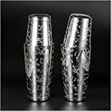 Kit Cocteleria Acero Inoxidable Boston Coctail Shaker Etching Skull Pattern Shaker Accesorios de Vino Cocktail Shaker Set-800ml & 500ml LQHZWYC (Color : Black)