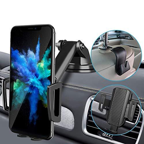 CarDition Porta Cellulare da Auto[4 in 1+Gancio seggiolino Auto], Supporto Cellulare Auto,Funzionamento con Una Sola Mano,Compatibile Supporto Telefono Auto 4-7 Pollici