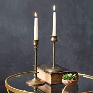 Set of 2 Brass Taper Candle Holders, Candlestick Holders, Centerpiece Table Decorative Vintage, Modern Candlelight Dinner ...