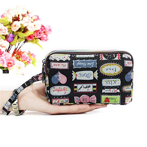 beifangww Individuelle Mode, einfach, leicht und verschleißfest Reißverschluss, Langstyle Tuchhandwerker, kanadische Handy Tasche, Schwarze Bonbons