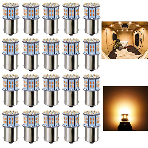 Antline 1156 1141 1003 7506 BA15S LED Bulbs Warm White/Yellow 20-Packs, Super Bright 3014 50-SMD LED Replacement for 12 Volt RV Camper Trailer Boat Trunk Interior Lights