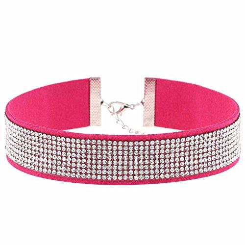 Velours Choker - Dirndl/Gothic Strass Kropfband - Trachtenschmuck Halsband Collier - Wildleder-Look (Pink)