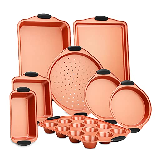 NutriChef Flexible & Nonstick Carbon Steel Bakeware Professional Home Kitchen Bake Pan Set with Black Silicone Handles, 8 Piece, Copper