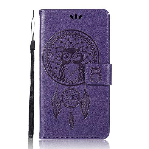 Sunrive Hülle Für Alcatel POP 4S, Magnetisch Schaltfläche Ledertasche Schutzhülle Case Handyhülle Schalen Handy Tasche Lederhülle(Lila Eule)