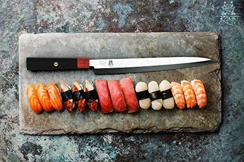 "DALSTRONG - Yanagiba Sushi Knife - Ronin Series - 10.5"" Single Bevel Blade - Japanese AUS-10V Damascus Steel - Red Rosewood Handle - w/Sheath"