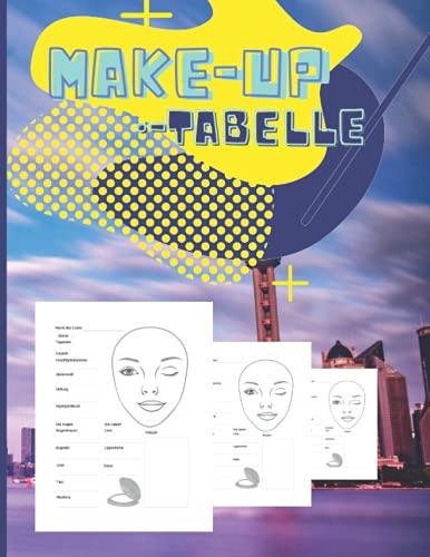 Make-up-Tabelle: Leere Arbeitsblätter mit Schminktabellen für Make-up-Liebhaber zur Organisation und Planung ihrer Entwürfe.