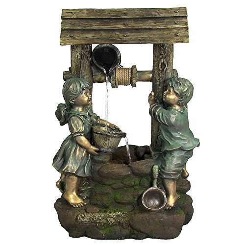 Sunnydaze Children at The Well Outdoor Water Fountain - Patio & Backyard Water Feature with LED Lights - 39 Inch Tall