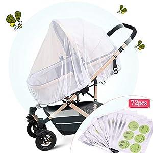 Fabur Universal Mosquitera Carrito Bebé,Mosquitera Bebé silla de paseo y cuna de viaje resistente, Protección Perfecto Elástica y lavable,con Parche Repelente de Mosquitos * 72 piezas