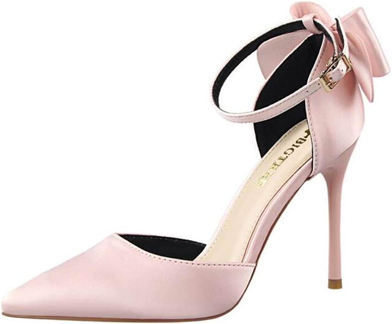 CHENGLing Women High Heel Strappy Dress Pumps Pointy Toe Satin Wedding Party shoes