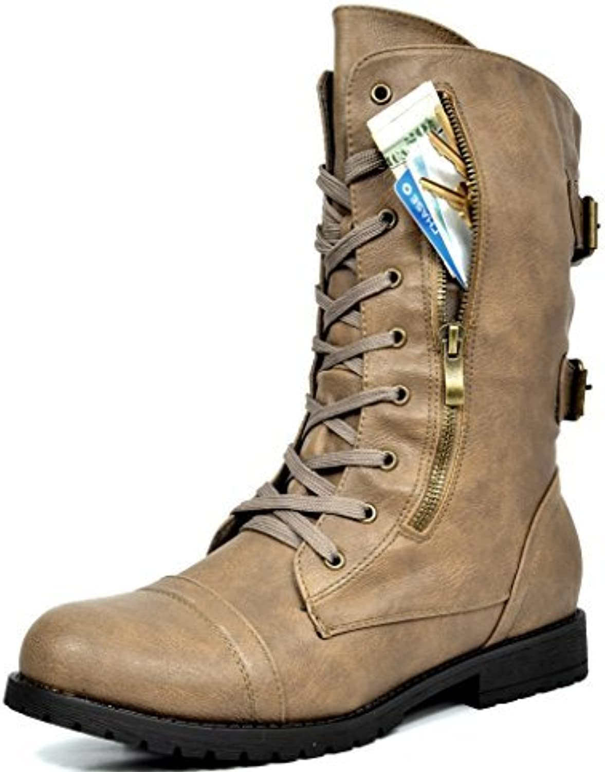 DREAM PAIRS Terran Women's Military Lace up Mid Calf Built-in Wallet Pocket Combat Boots