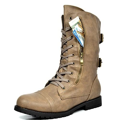 a9ccd59d27ca DREAM PAIRS Women s Winter Lace up Mid Calf Combat Boots