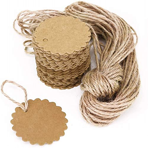 JZK 100 Paper Gift Tags Kraft Paper + 20m Jute String, Price Tags Luggage Tags Gift Labels for Wedding Birthday Party Favour Box Bag Gift Box DIY Bookmark, Brown Round Kraft Card
