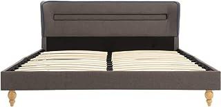 Tidyard Lit LED avec Matelas | Lits pour Adulte LED 140 x 200 cm Taupe Tissu - Matelas à Mémoire de Forme