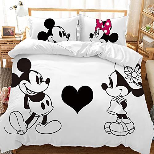 Juego de cama HLSM Disney Mickey Minnie – Funda de edredón y dos fundas de almohada de microfibra con estampado digital 3D, 2/3 piezas, regalo para adolescentes y niñas, A17., Single 135x200cm