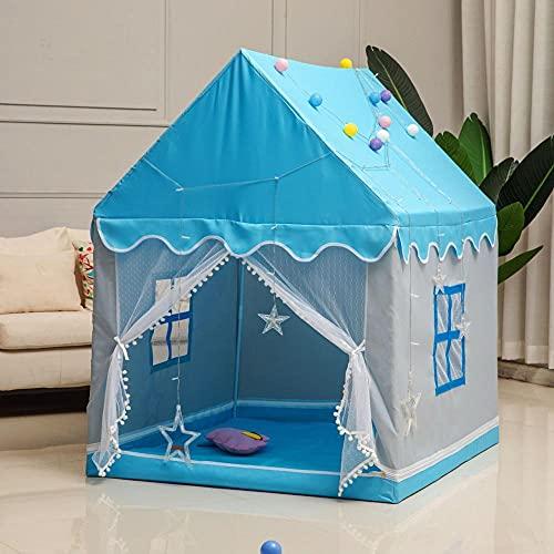 Zerrale Tipi Infantil Tienda de Campaña para niños Carpa Bebes Castillo Carpa Castillo Juego para Interior Exterior Regalo para Bebés Niños y Niñas Azul Rosado-4
