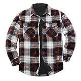 ZENTHACE Men's Warm Sherpa Lined Fleece Plaid Flannel Shirt Jacket(All Sherpa Fleece Lined)Brown/White XL