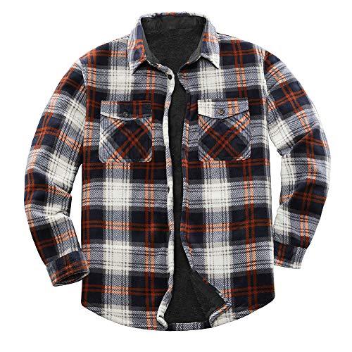 ZENTHACE Men's Warm Sherpa Lined Fleece Plaid Flannel Shirt Jacket(All Sherpa Fleece Lined) Brown/White XL