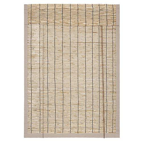Mr.T Reed Vorhänge/Bambus-Vorhang Jalousien, Retro Reed Rollläden, Holz natürliche Trenntüren, Balkon Vorhänge, Verdunkelungs, wasserfest/Isolationsrollo (Color : Black)