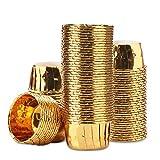 Gold Cupcake Liners, Eusoar 100pcs 3.5 oz Disposable Aluminum ramekins, Foil Cupcake Baking Cups, Aluminum Foil Muffin Liners, Aluminum Cups, Cupcake Ramekin Holder Cups, Ramekins for Baking