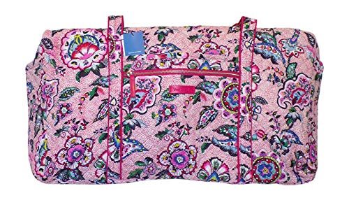 Vera Bradley Women's Signature Cotton Large Travel Duffel Bag, Stitched Flowers, One Size
