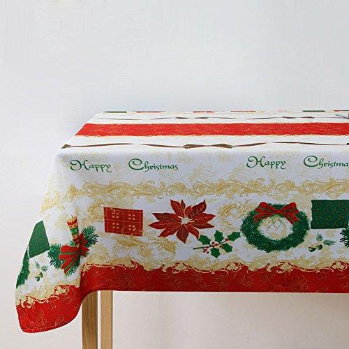 BLUELSS Tissu polyester Table de Noël accueil de jour/Piscine/Partie Size 150*213-150*304cm nappe Noël Décor Manteles Navidad ,cirée,60x102cm 150x259cm