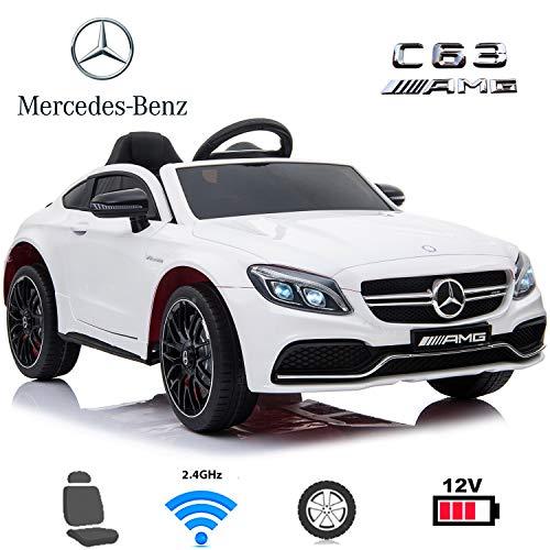Coches eléctricos para niños Mercedes C63 con Mando Parental 2.4GHz, bateria 12v, Ruedas de Caucho, Asiento en Polipiel (Blanco)