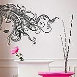 Sexy chica belleza pelo largo cara maquillaje salón pegatinas de pared decoración del hogar sala de estar extraíble Color pared calcomanía A8 82x57cm