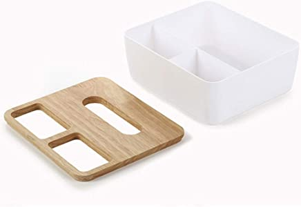 Hanbaili Storage Box Fashionable Tissue Box with Wood Sundries Storage Space Saver