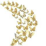 36 piezas de oro hueco 3D decoración de la mariposa, decoración de la mariposa etiqueta de la pared decoración de la fiesta de cumpleaños decoración del hogar del dormitorio de la boda