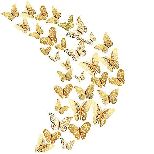 36 Stks Goud 3D Vlinder Muurstickers, Metallic Art Sticker, Vlinder Muurstickers voor Home Decor Vlinders Koelkast…
