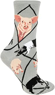 Pigs Gray Large Cotton Socks